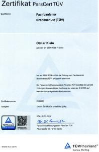 2014-01-30 Otmar Klein Fachbauleiter Brandschutz