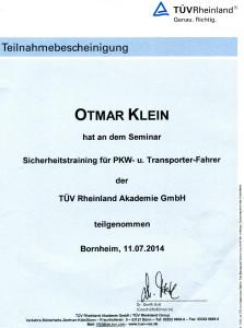 2014-07-11 Otmar Klein Fahrsicherheitstraining PKW + Transporter
