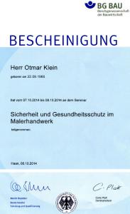 2014-10-07 Otmar Klein Sicherheit und Gesundheitsschutz im Malerhandwerk