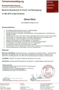 2015-05-12 Otmar Klein Brandschutzfachtagung Baulicher Brandschutz im Flucht- und Rettungsweg